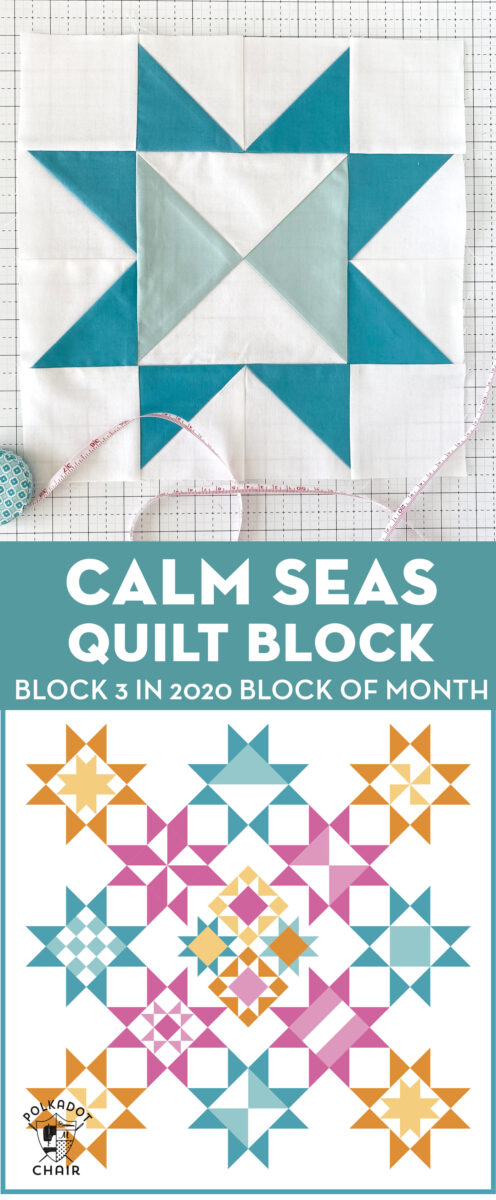 Calm seas quilt block on white cutting mat with illustration of finished quilt