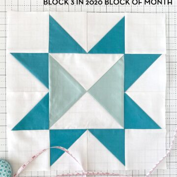Calm Seas Quilt Block on White cutting mat