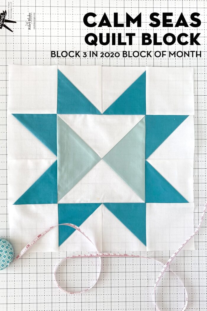 Calm Seas Quilt Block on White cutting mat