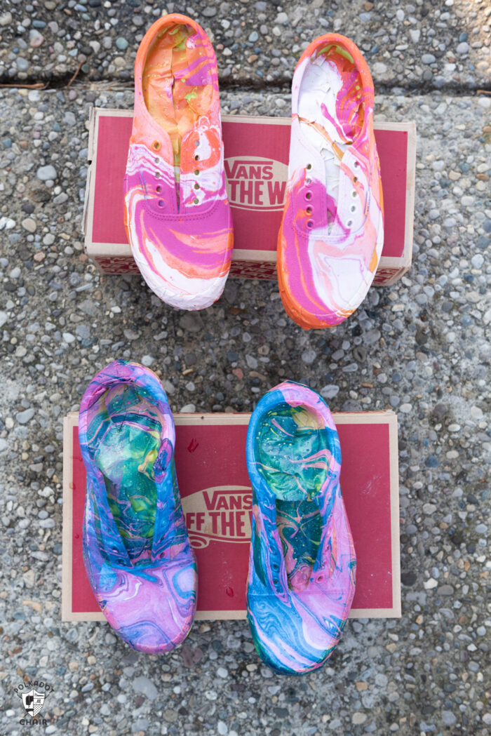 hydro dipped vans drying on shoe boxes in driveway
