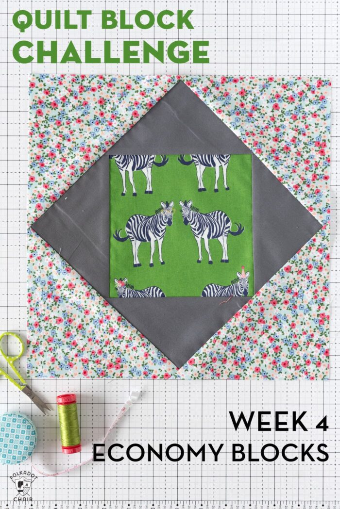 finished quilt block on white cutting mat
