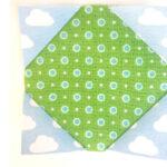 needlecase quilt block pieces pieced on white background