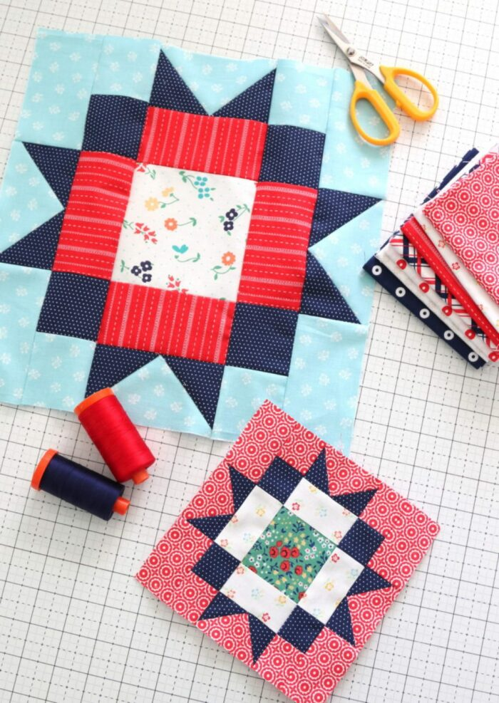 red white and blue quilt blocks in two sizes on white cutting mat