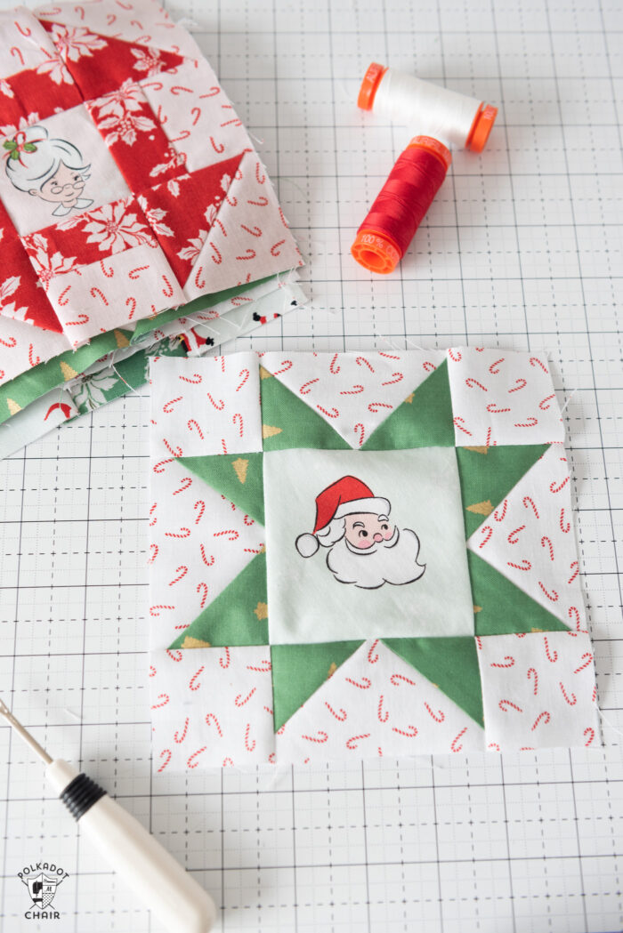 sewn quilt blocks on white cutting mat