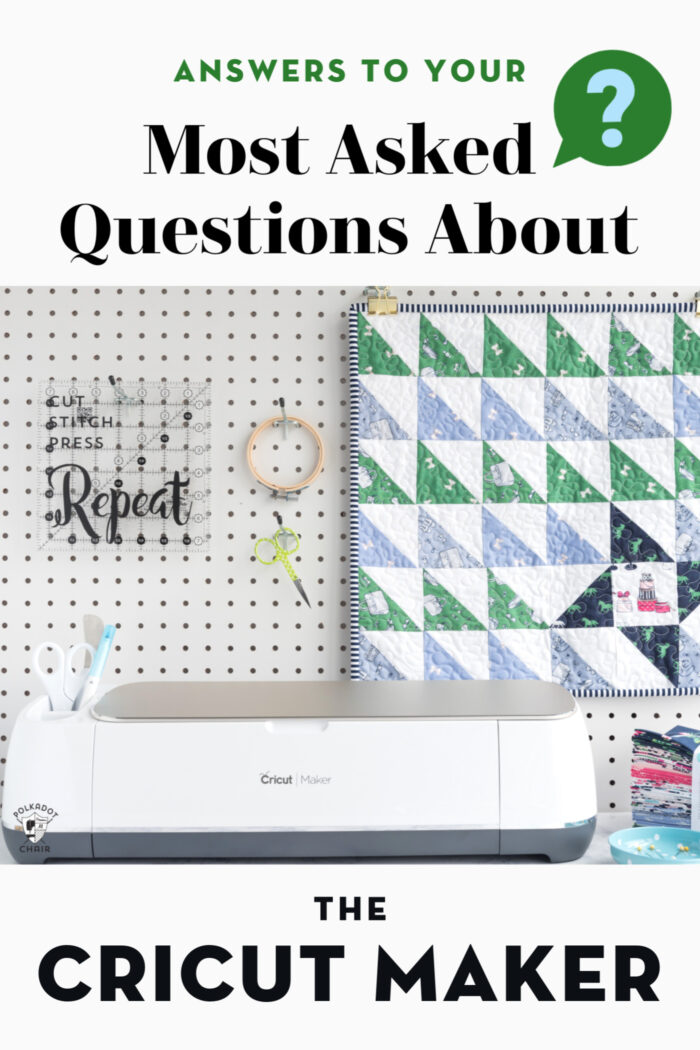 photo of cricut maker with mini quilt on peg board