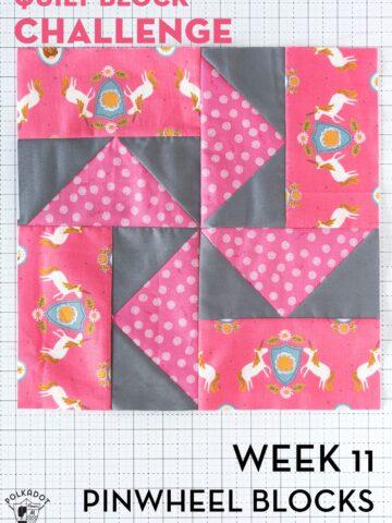 gray pinwheel quilt block on white cutting mat