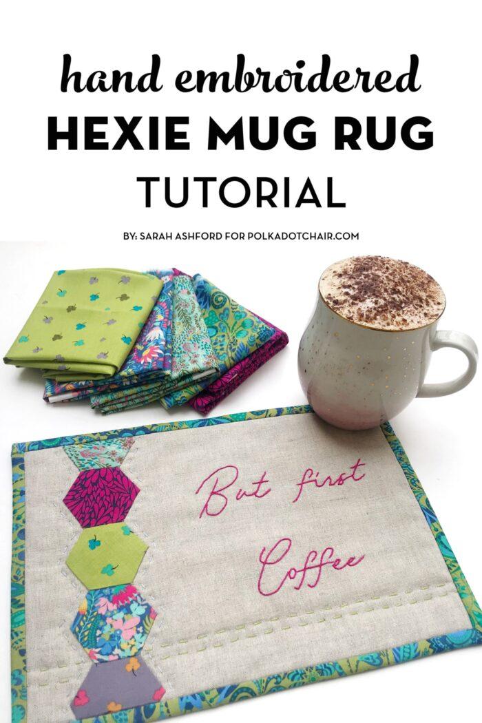 hexagon mug rug on white table with text overlay the image