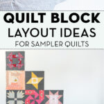 various quilt blocks pinned on white wall