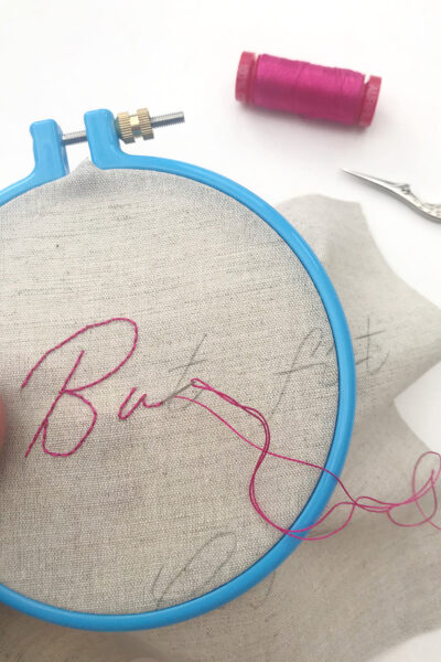 close up of hand embroidery stitches