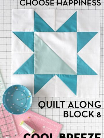 blue quilt block on white cutting mat
