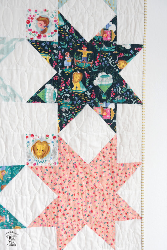 close up of sawtooth star quilt block
