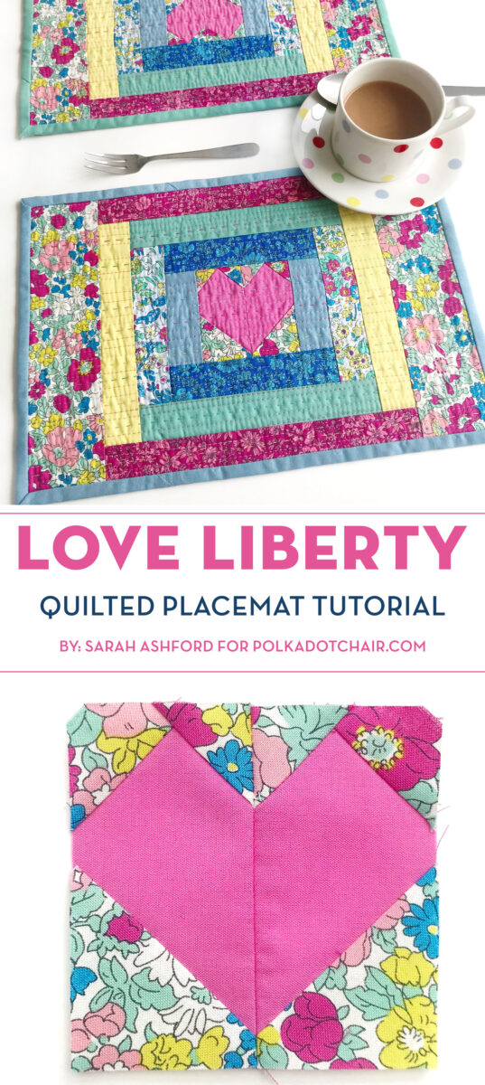 quilted placemat made from liberty fabrics on white table with polka dot tea cup