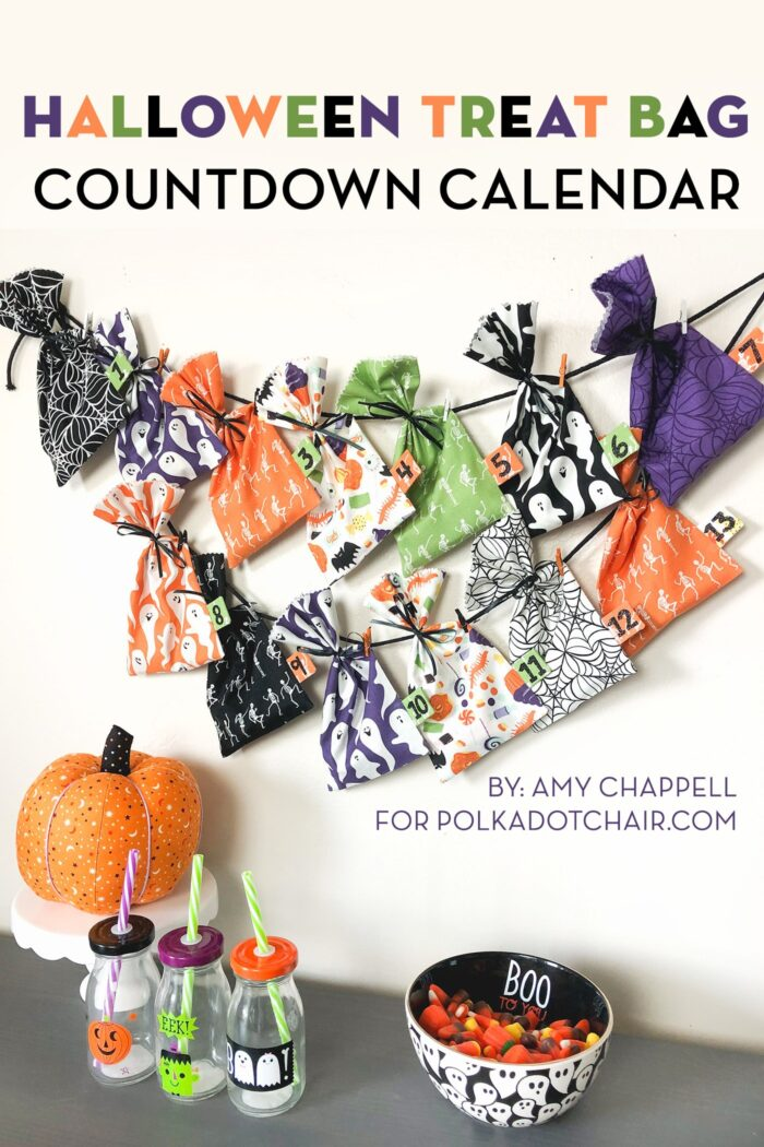 multi colored halloween treat bags hanging on wall