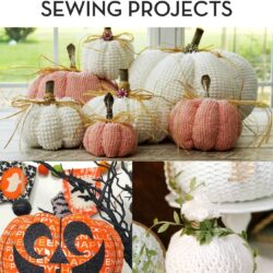 collage image with fabric pumpkins and text