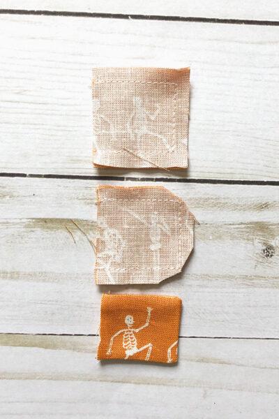 3 small squares orange fabric