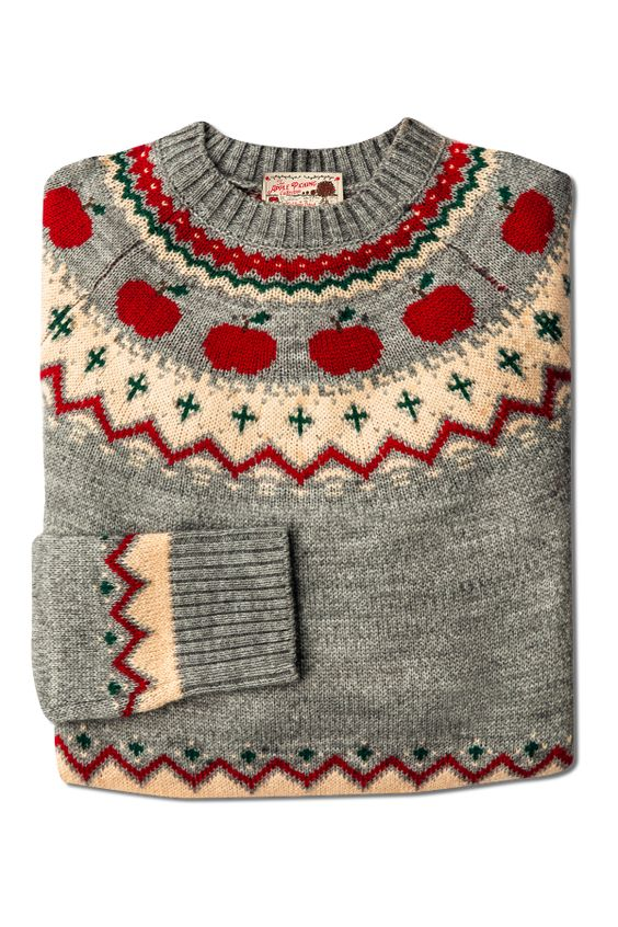 gray fair isle sweater with apples