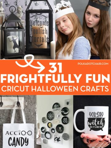 collage image with cricut halloween crafts and overlay text
