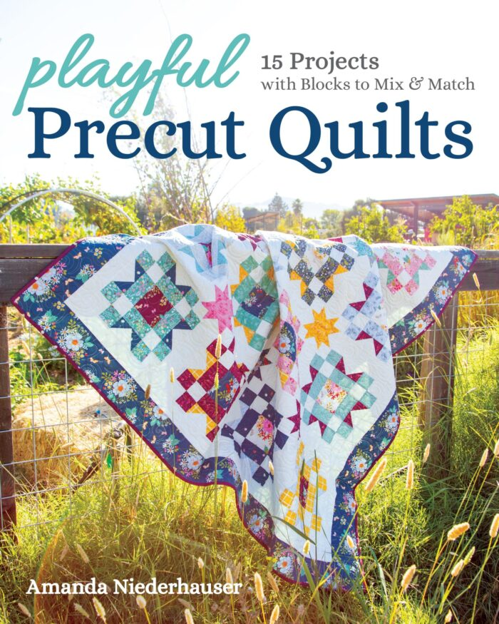 book cover for precut quilts book