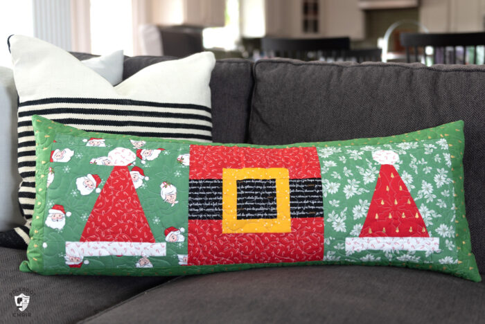 quilted pillow on couch