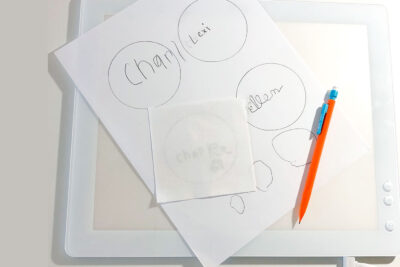 paper on a light box