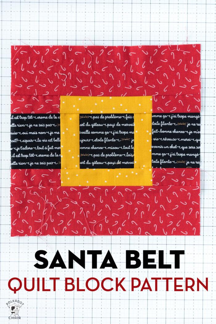Photo of sewn santa belt quilt block on white cutting mat
