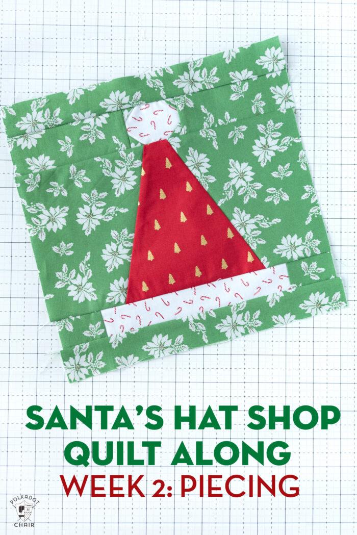 Santa Hat quilt block on white cutting mat