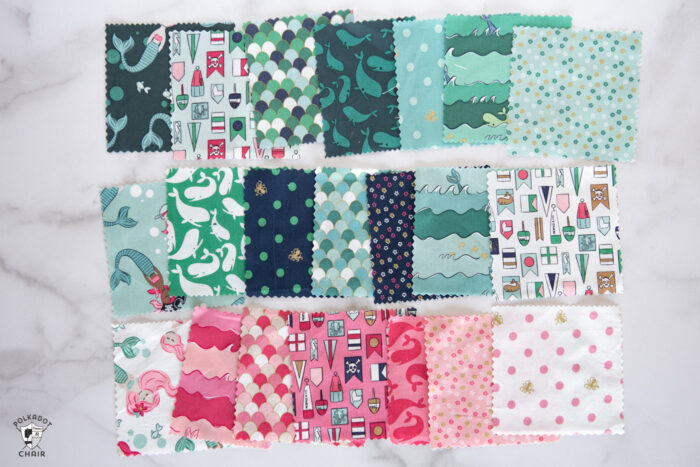 swatches of fabric on white table