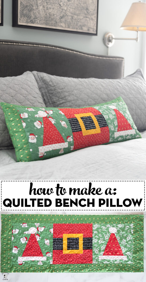 quilted christmas pillow on gray bed