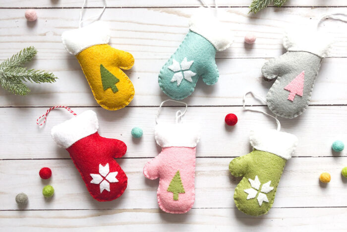 finished photo of mitten Christmas ornaments