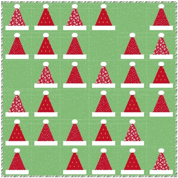 diagram of santa's hat quilt with green background