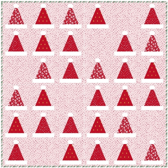 diagram of santa's hat quilt with pink background
