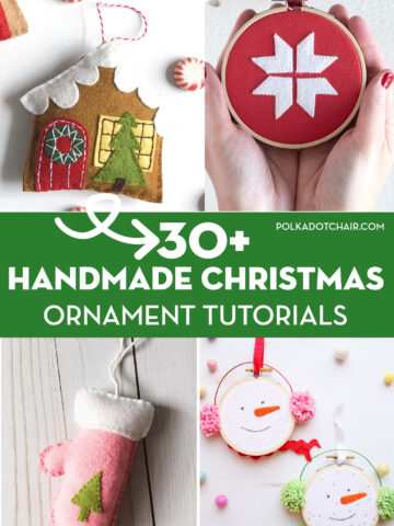 collage image with handmade ornaments and text