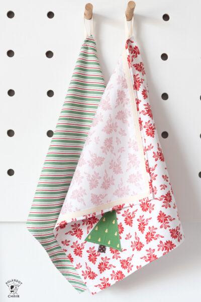 tea towels on white peg rack
