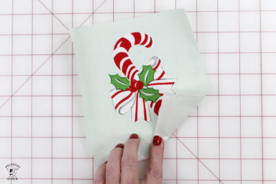 piece of fabric with candy cane illustration