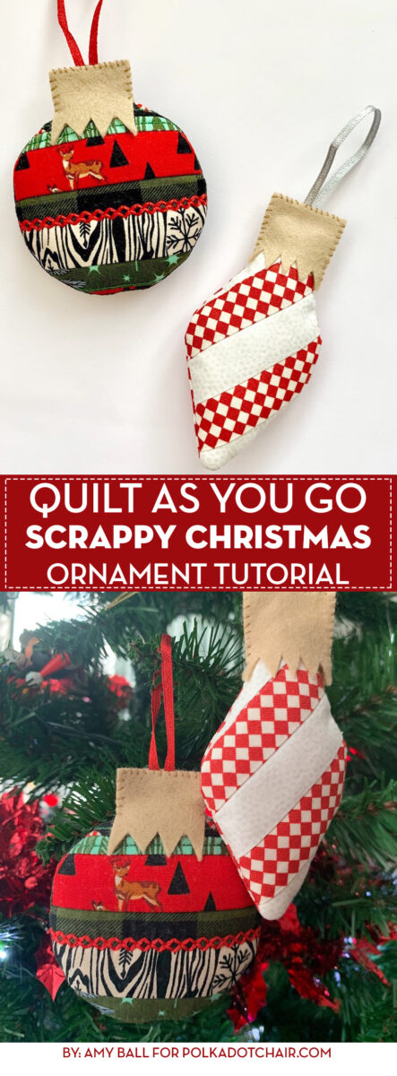 Finished scrappy Christmas ornament in red and white on Christmas Tree