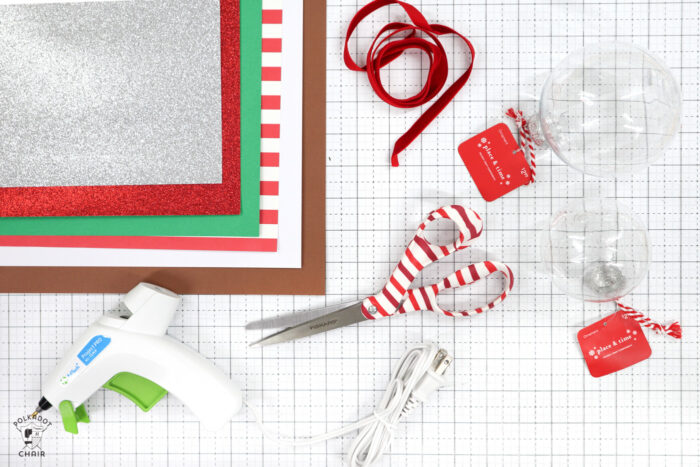 supplies for ornaments on white cutting mat