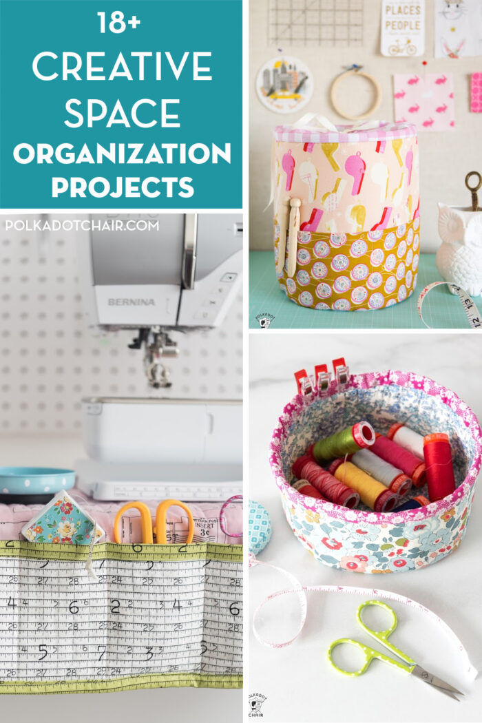 collage image with fabric baskets and text