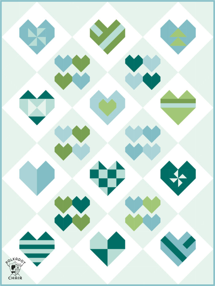 Diagram of heart quilt in blues and greens