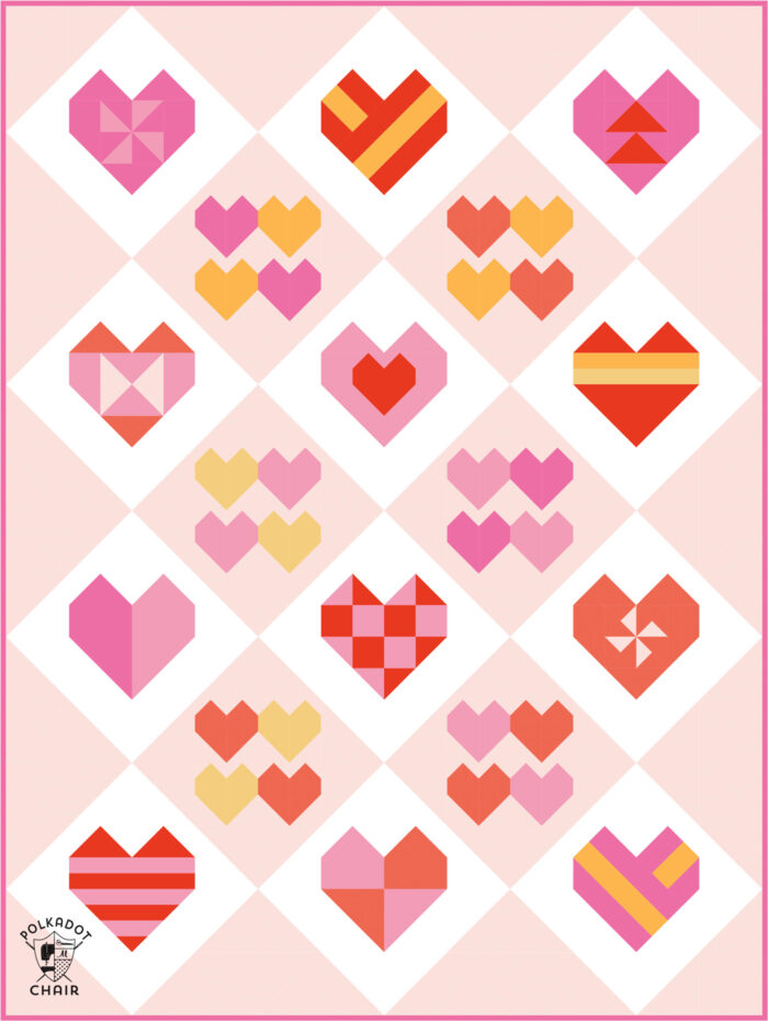 Diagram of heart quilt in pinks and oranges