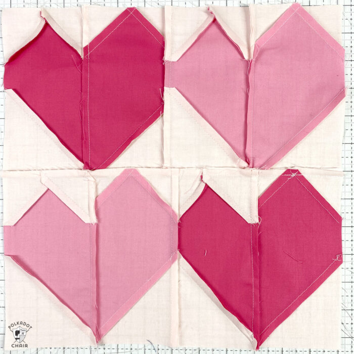 back of quilt block showing seams