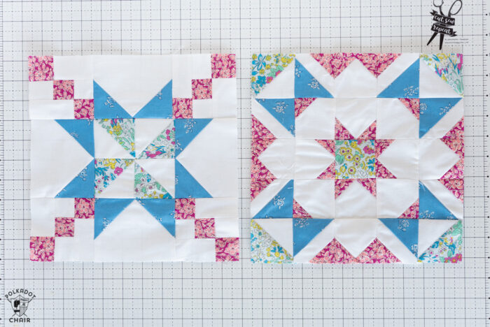 Blue, white and pink quilt blocks on white cutting mat