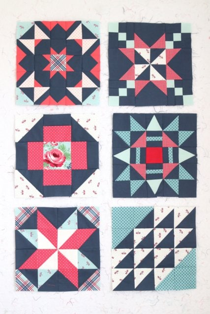 red, white and blue fabrics stitched into quilt blocks