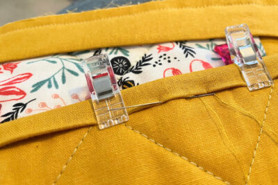 close up of needle on binding