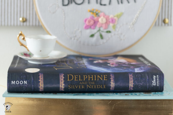 """close up of book spine """"delphine and the silver needle"""""""