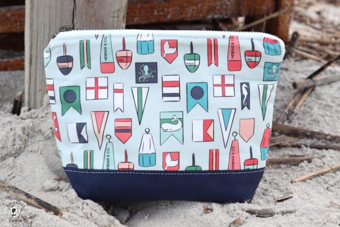 nautical zip bag on beach