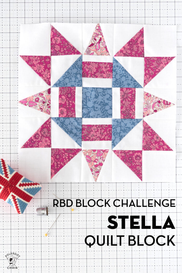 blue pink and white quilt block on white cutting mat