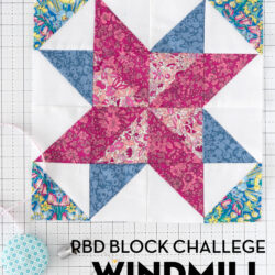 red pink and white quilt block on white cutting mat