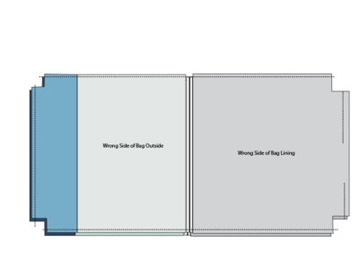 gray and blue zip bag illustration