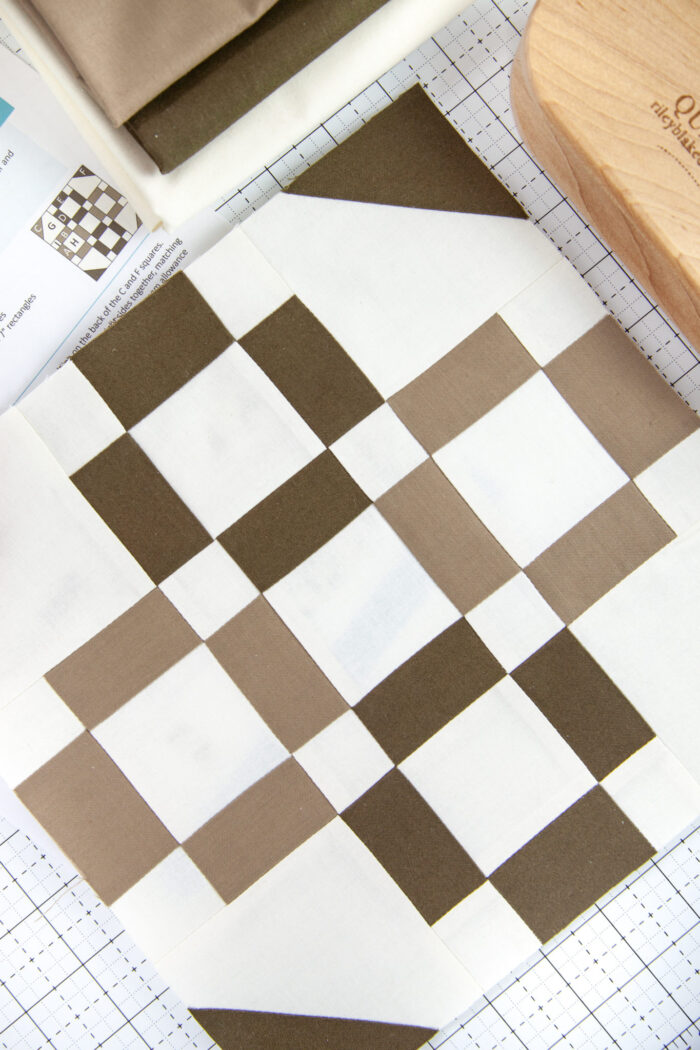 brown and white pieced quilt block