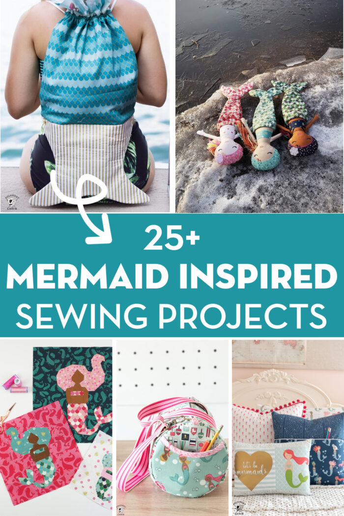 Collage image of mermaid sewing projects with text.